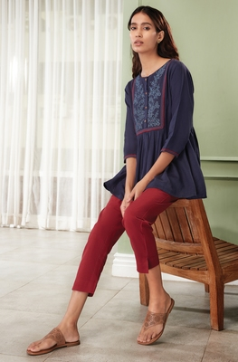 Navy-blue embroidered cotton party-tops