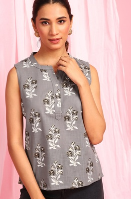 Grey printed cotton party-tops