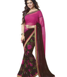 Buy Coffee And Pink embroidery Georgette saree with blouse bollywood-saree online
