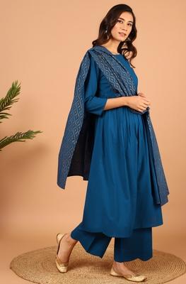 Blue plain cotton salwar