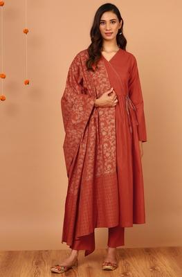 Orange stripes print cotton salwar