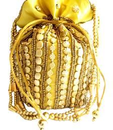 Bead Pouch Potli Bag  Golden