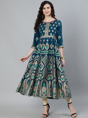 Turquoise printed viscose ethnic-kurtis