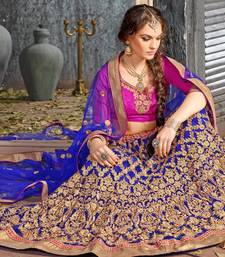 Buy Blue Embroidered Net Lehenga with Blouse lehenga-choli online