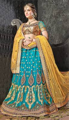 Blue Embroidered Net Lehenga With Blouse