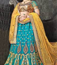Buy Blue Embroidered Net Lehenga with Blouse bollywood-lehenga online