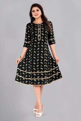 Black woven rayon ethnic-kurtis