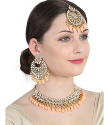 Orange gold plated Yellow Gold Alloy   Necklace   Pair Earring   Maangtika