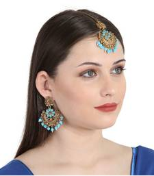 Turquoise gold plated Yellow Gold Alloy   Pair Earring   Maagtika