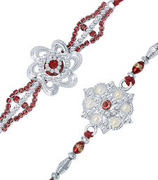 Rhodium Plated Set of 2 Designer Rakhi Combo