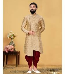 brown silk plain stitched Men Indo Western Set