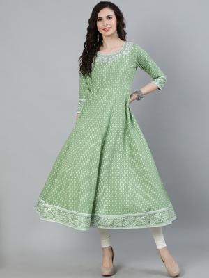 Green printed viscose ethnic-kurtis