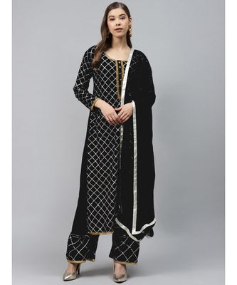 Black Made to Measure Black Kurta Pallazo Set with Gotta Patti Embroidery & Chiffon Dupatta