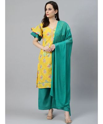 Yellow Cotton Stitched Resham Embroidery Suit withBatik Print & Styled Sleeves