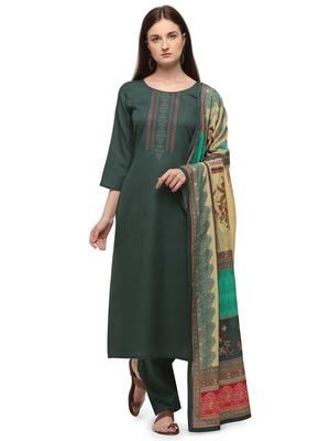 Sea Green Color Printed Dupatta Unstitched Dress Material