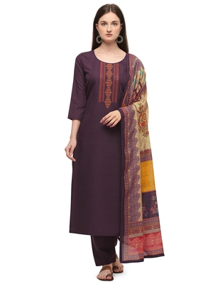 Wine Color Printed Dupatta Unstitched Dress Material
