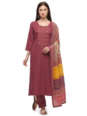 Peach Color Printed Dupatta Unstitched Dress Material