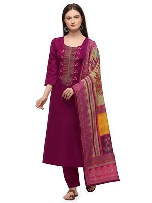 Magenta Color Printed Dupatta Unstitched Dress Material