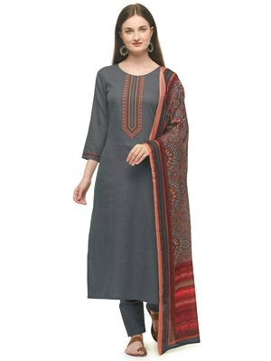 Grey Color Printed Dupatta Unstitched Dress Material