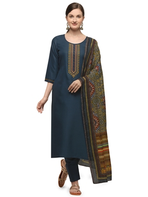 Peacock Blue Color Printed Dupatta Unstitched Dress Material