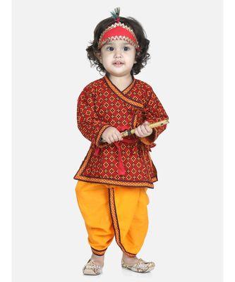 red Cotton Kanhaiya Dress With Bansuri,Mukut & Band