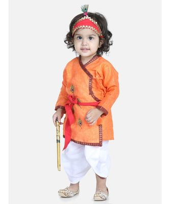 orange Cotton Kanhaiya Dress Morpankh Emb.