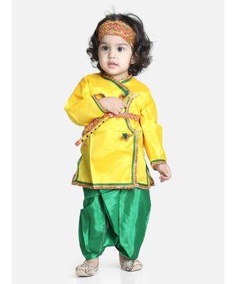 yellow green Little Kanhaiya Suit Dress Set