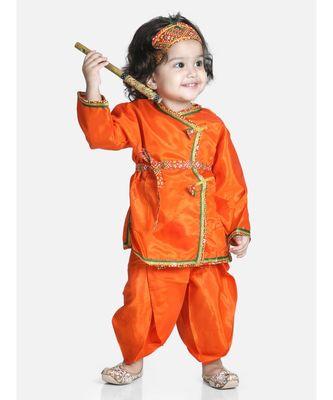orange Little Kanhaiya Suit Dress Set