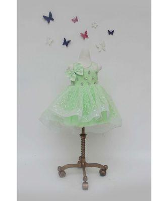 Green Sequins Net Dress