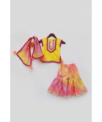 Yellow Kurta with Pink Kotta Print Fabric Sharara and Dupatta Set