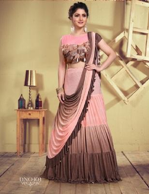 Peach plain georgette saree with blouse