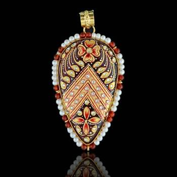 Drop shape Tanjore Pendant