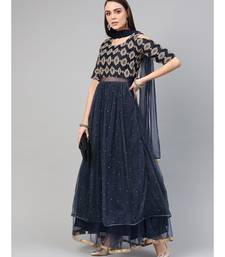 Blue  Cocktail Gown with Zari embroidery shimmer floral foil print and dupatta