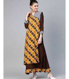 Brown Kalamkari Inspired Print Long Dress with Wooden Buttons and Layering