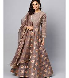 Grey Embellished Gown with Banarasi weaving and Zari Embroidered Dupatta