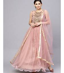 pink  Mauve Layered Gown with Crystal Zari Embroidery and Dupatta