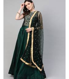 Green Mirror Embellished Cocktail gown with Sequin embroidered Dupatta