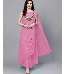Pink Georgette Draped Dress with Attached Necklace and Dupatta