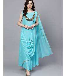 Turquoise Turquoise Georgette Draped Dress with Attached Necklace and Dupatta