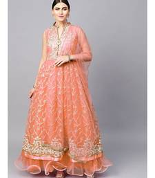 Peach Anarkali Cocktail Gown with Resham Zari Embroidery and dupatta