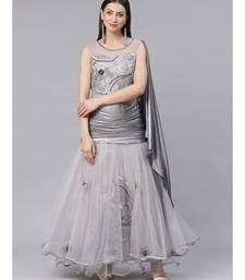 Grey Anarkali Gold Embellished Gown with Sequence and Thread Embroidery