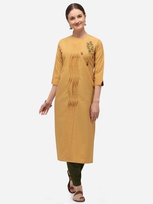 Yellow Color HandWork Straight Kurta Set