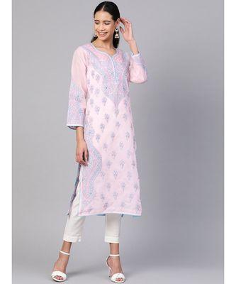 Embroidered Pink Cotton Lucknow Chikankari Kurti