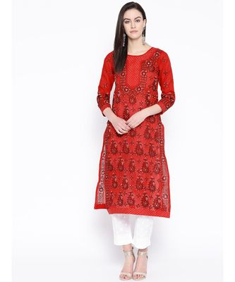 Embroidered Red Cotton Lucknowi Chikan Kurti