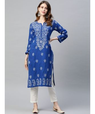 Embroidered Royal Blue Cotton Lucknowi Chikan Kurta