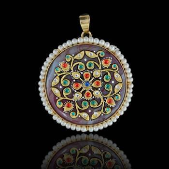 Round Flower Art Tanjore Pendant