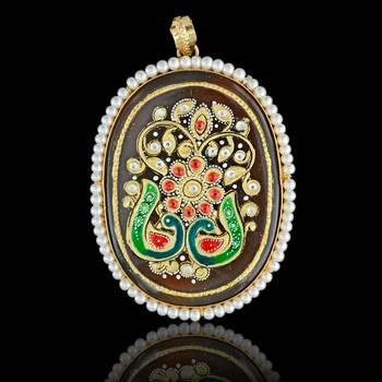 Two Peacock Tanjore Pendant