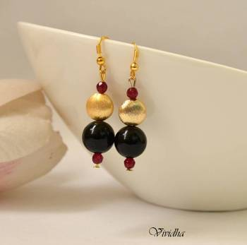 Black Onyx and Golden Beads Elegant Drop Earrings