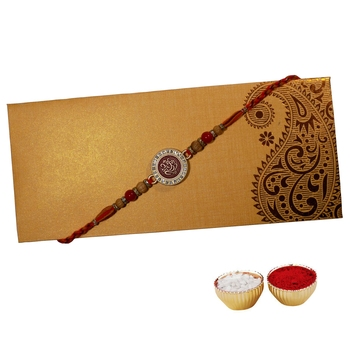 Fancy Rakhi for Brother with Engraved Ganesha Ji on Metallic Plate Single Rakhi with Roli Tika