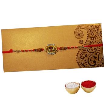Multicolor Cutwork Ganesha Rakhi For Brother Single Rakhi with Roli Tika